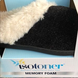 Isotoner Black Metallic Memory Foam Slippers